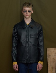 [UNALLOYED] FAKE LEATHER JUMPER [BLACK]