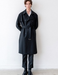 [INSILENCE] SLOSH WOOL TRENCH COAT (black)