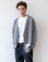 [INSILENCE] OVERSIZED WOOL CARDIGAN (grey)