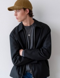 [INSILENCE] FRONT ZIP JACKET (black)