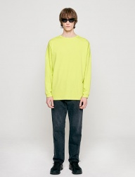 [INSILENCE] SOLID CREW NECK LONG SLEEVES (yellow green)
