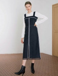 [DIAGONAL] LINE POINT DRESS (NAVY)