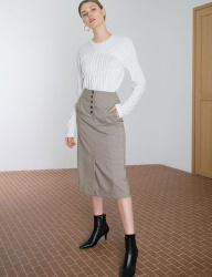 [DIAGONAL] CHECK A-LINE SKIRT