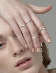 [090FACTORY] [Silver] Diagonal stitch Ring