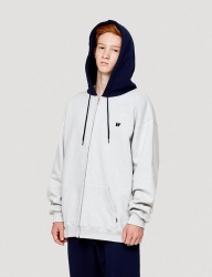 [WKNDRS] W LOGO HOODED ZIP JK (GREY)