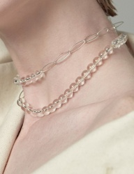 [090FACTORY] [Silver] Expand thread Necklace