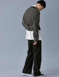 [VOIEBIT] V252 STRIPE BELT WIDE SLACKS_BLACK