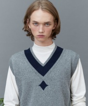 [replaycontainer] RC lambs wool knit vest (gray)