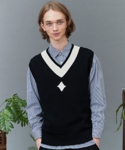 [replaycontainer] RC lambs wool knit vest (black)