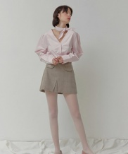 [oioi] SIDE CUTTING SKIRTS_grey check