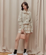 [oioi] SIDE CUTTING WOOL SKIRT_beige check