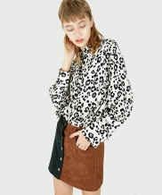 [FUZA] WHITE LEOPARD BIG COLLAR SHIRT