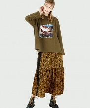 [FUZA] LEOPARD BLOCK SIDE MAXI SKIRT