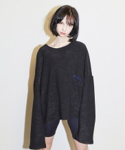 [ENZO BLUES] CROPPED TERRY SWEATER