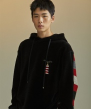 [SEWING BOUNDARIES] DOUBLE STRIPE HOODIE BLACK