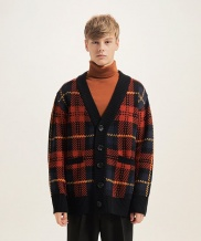 [CLIF] OVERSIZE CHECK CARDIGAN