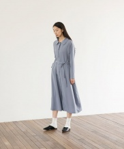 [NONLOCAL] Round Collar Robe Dress