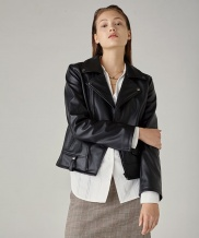 [SPERONE] All Black Fake leather basic rider jacket WOMAN