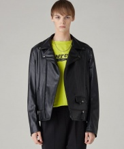 [SPERONE] All Black Fake leather basic rider jacket MAN