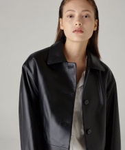 [SPERONE] Real Lambskin Crop Single Leather Jacket