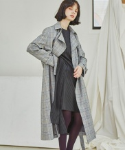 [Sorry, Too Much Love] Classic Check Trench Coat