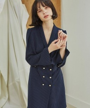 [Sorry, Too Much Love] Pin Stripe Double Button Dress