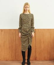 [TMO BY 13MONTH] LEOPARD SHIRRING ONE PIECE