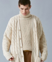 [VOIEBIT] V558 TWIST LOOSE FIT WOOL CARDIGAN KNIT