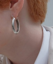 [090FACTORY] [Silver] Hidden lines oval Earring