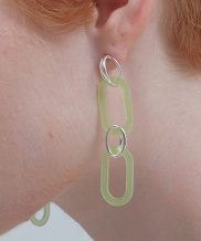 [090FACTORY] [Silver] Connection Earring (Navy, Green, White)