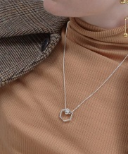 [090FACTORY] [Silver] Hexagon lines Necklace
