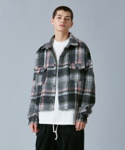 [VOIEBIT] V445 CHECK CROP FLANNEL SHIRTS