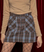 [AT THE MOMENT] Wool Check Skirt