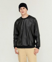 [TrippinCeLL] Artificial Leather Sweatshirt
