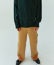 [WOOZO] simple two ton wide kint pants