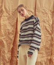 [A.GLOWW] STRIPE COMBINATION WOOL KNIT