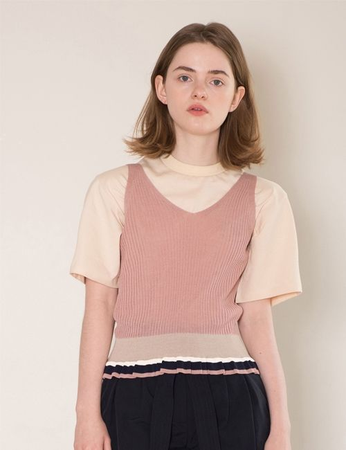 [DIAGONAL] frill knit sleeveless