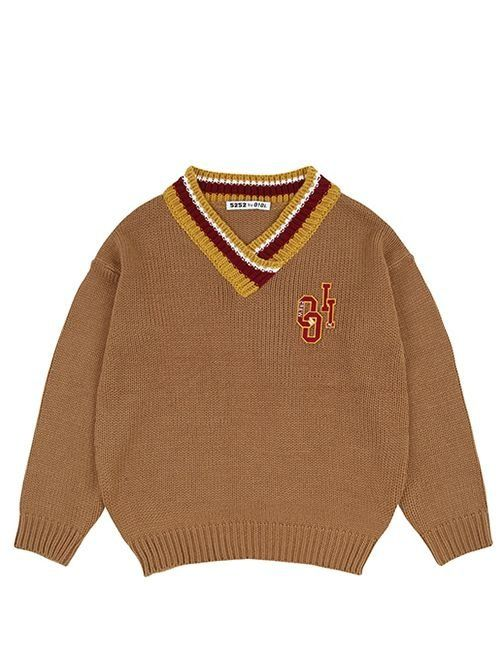 [5252] V NECK PULLOVER [brown]