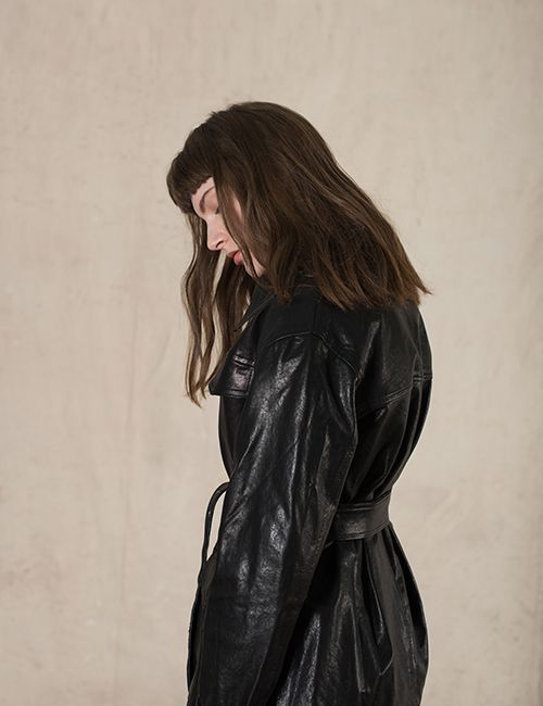 [DIAGONAL] LEATHER HALF TRENCH JACKET