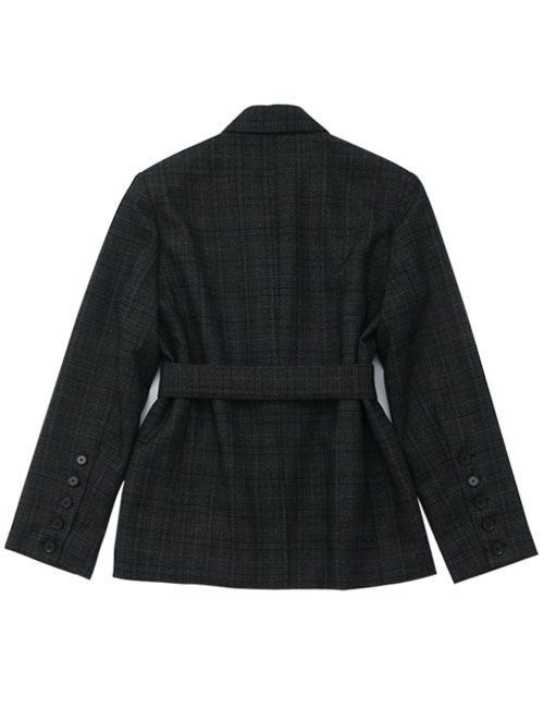 [DIAGONAL] BELT TAILORED JACKET CHECK