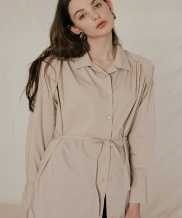 [DIAGONAL] SHOULDER PAD SHIRTS DRESS