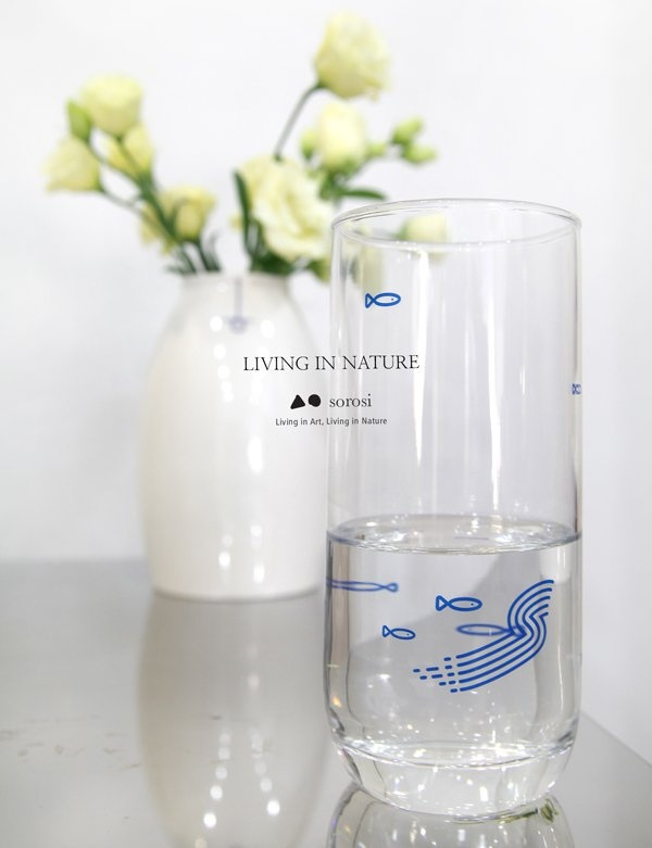 [SOROSI] Sansuhwa pattern glass cup(blue fish)