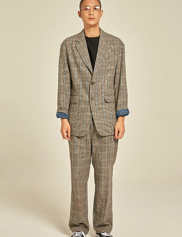[PRAIRIE] WOOL CHECK OVER-FIT BLAZER
