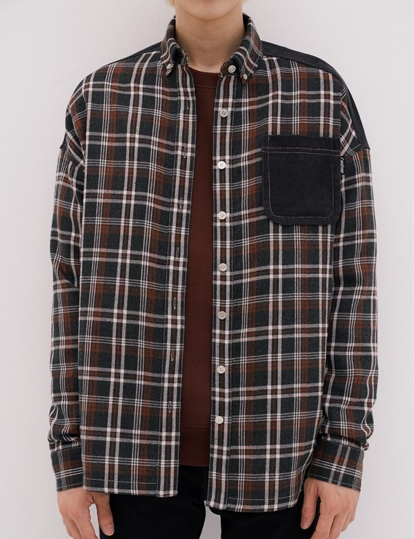 [CANLEAP] UNISEX MIXED CHECK OVERFIT SHIRT