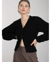 [DIAGONAL] V-NECK KNIT CARDIGAN