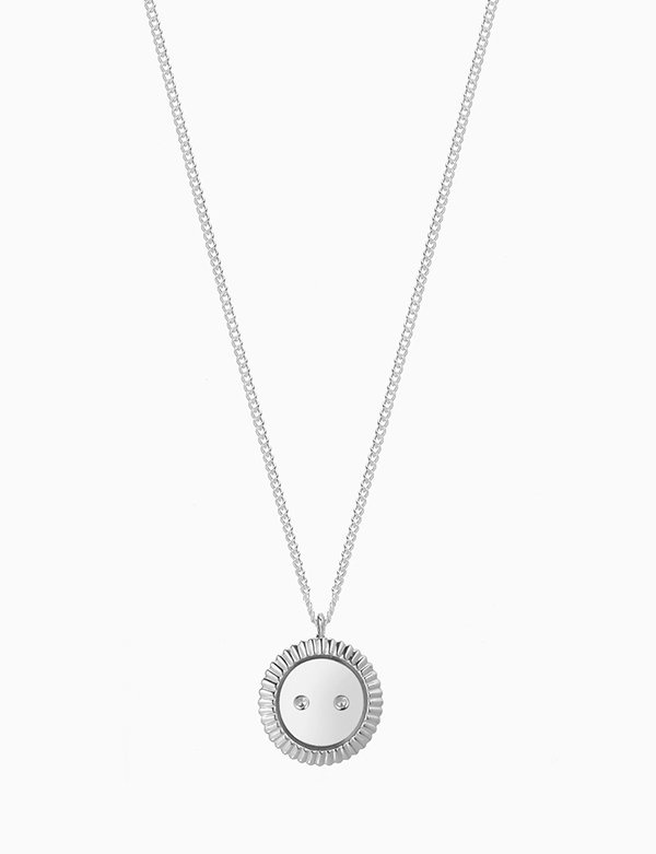 [090FACTORY]  [Silver] Button Necklace (Silver,Gold)