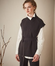 [Maison de Ines] SIDE LINE OPEN VEST KNIT
