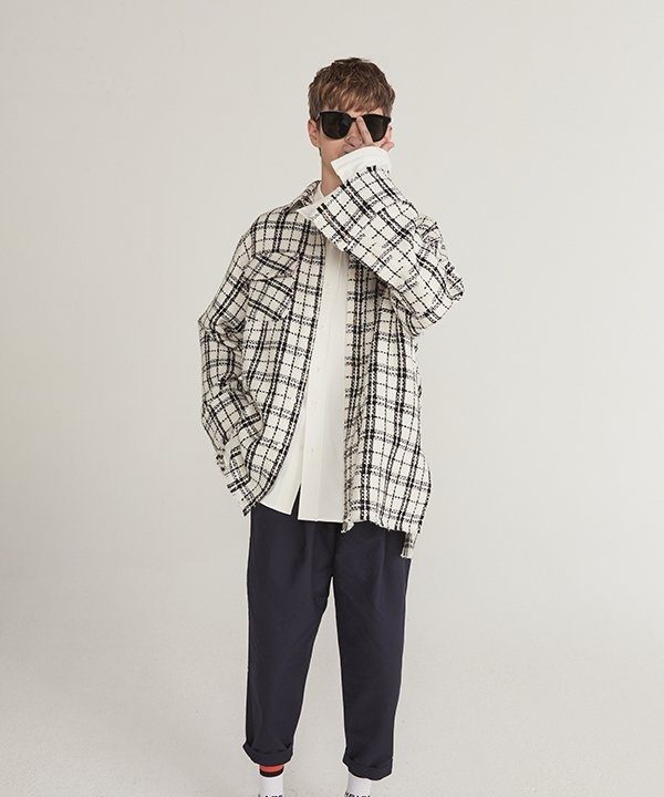[HEICH BLADE] TWEED CHECK OUTER SHIRTS