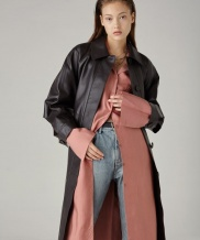 [SPERONE] Point Sleeve Real Leather Coat