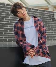 [CODEI'M] SCW LETTERING OVER FIT CHECK SHIRT